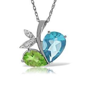 Genuine 5.26 ctw Blue Topaz, Peridot & Diamond Necklace