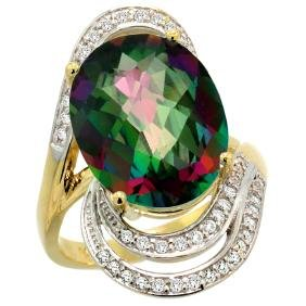 Natural 11.2 ctw mystic-topaz & Diamond Engagement Ring