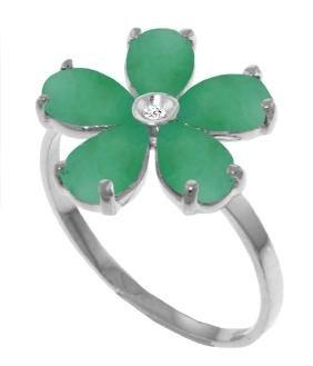 Genuine 2.22 ctw Emerald & Diamond Ring Jewelry 14KT
