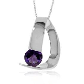 Genuine 1 ctw Amethyst Necklace Jewelry 14KT White Gold