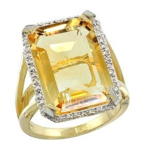 Natural 13.72 ctw Citrine & Diamond Engagement Ring 14K