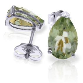 Genuine 3.15 ctw Green Amethyst Earrings Jewelry 14KT