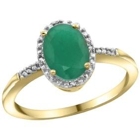 Natural 1.5 ctw Emerald & Diamond Engagement Ring 14K