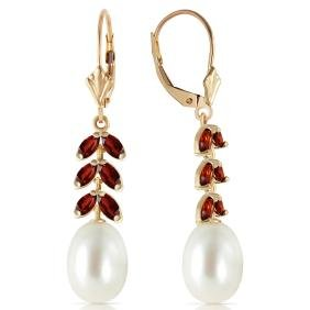 Genuine 9.2 ctw Pearl & Garnet Earrings Jewelry 14KT