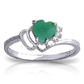 Genuine 1.02 ctw Emerald & Diamond Ring Jewelry 14KT