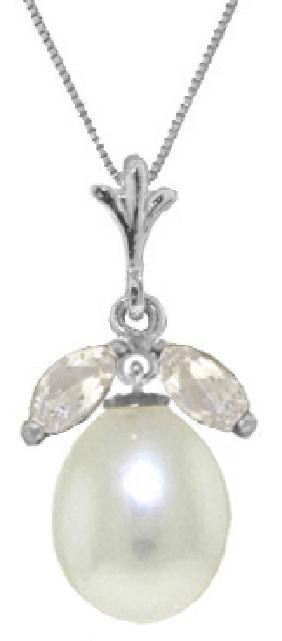 Genuine 4.5 ctw White Topaz Necklace Jewelry 14KT White