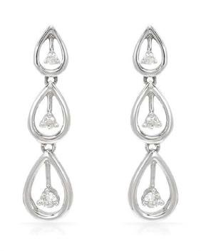0.19 CTW Diamond Dangling  Earring in 14K White Gold