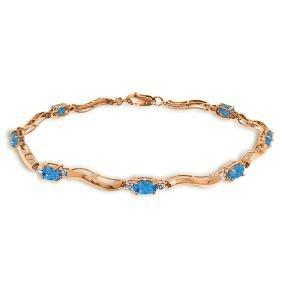 Genuine 2.16 ctw Blue Topaz & Diamond Bracelet Jewelry