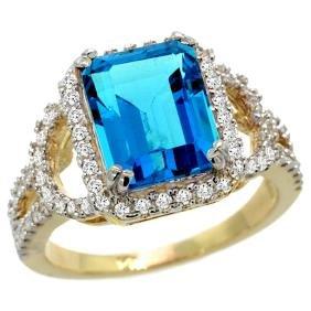 Natural 3.08 ctw swiss-blue-topaz & Diamond Engagement