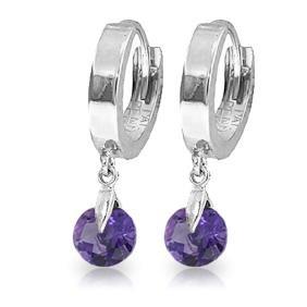 Genuine 1.50 ctw Amethyst Earrings Jewelry 14KT White