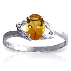 Genuine 0.90 ctw Citrine Ring Jewelry 14KT White Gold -