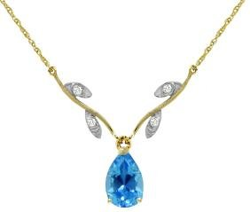 Genuine 1.52 ctw Blue Topaz & Diamond Necklace Jewelry