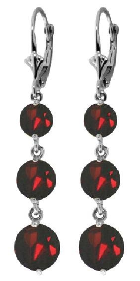 Genuine 7.2 ctw Garnet Earrings Jewelry 14KT White Gold