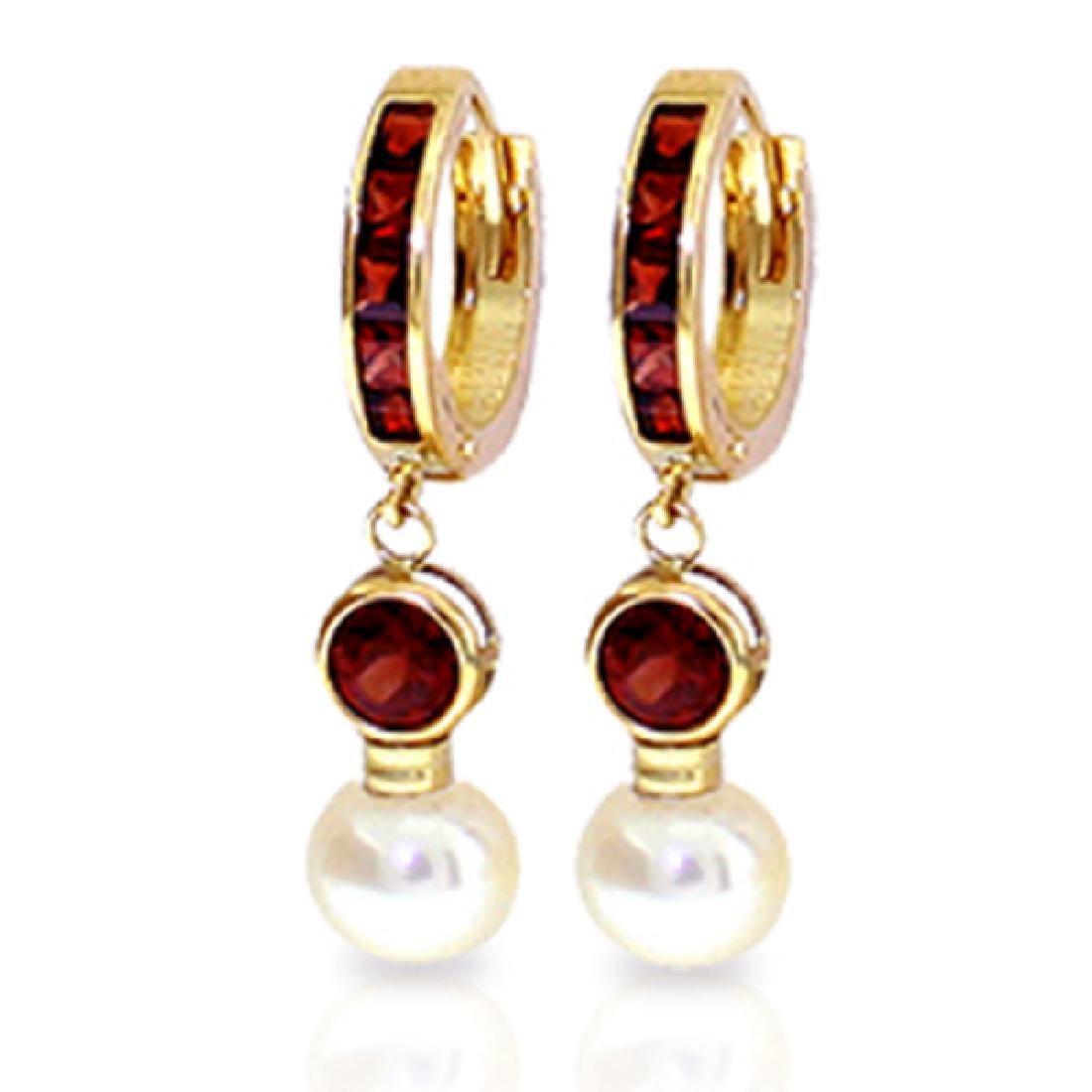 Genuine 4.3 ctw Garnet & Pearl Earrings Jewelry 14KT