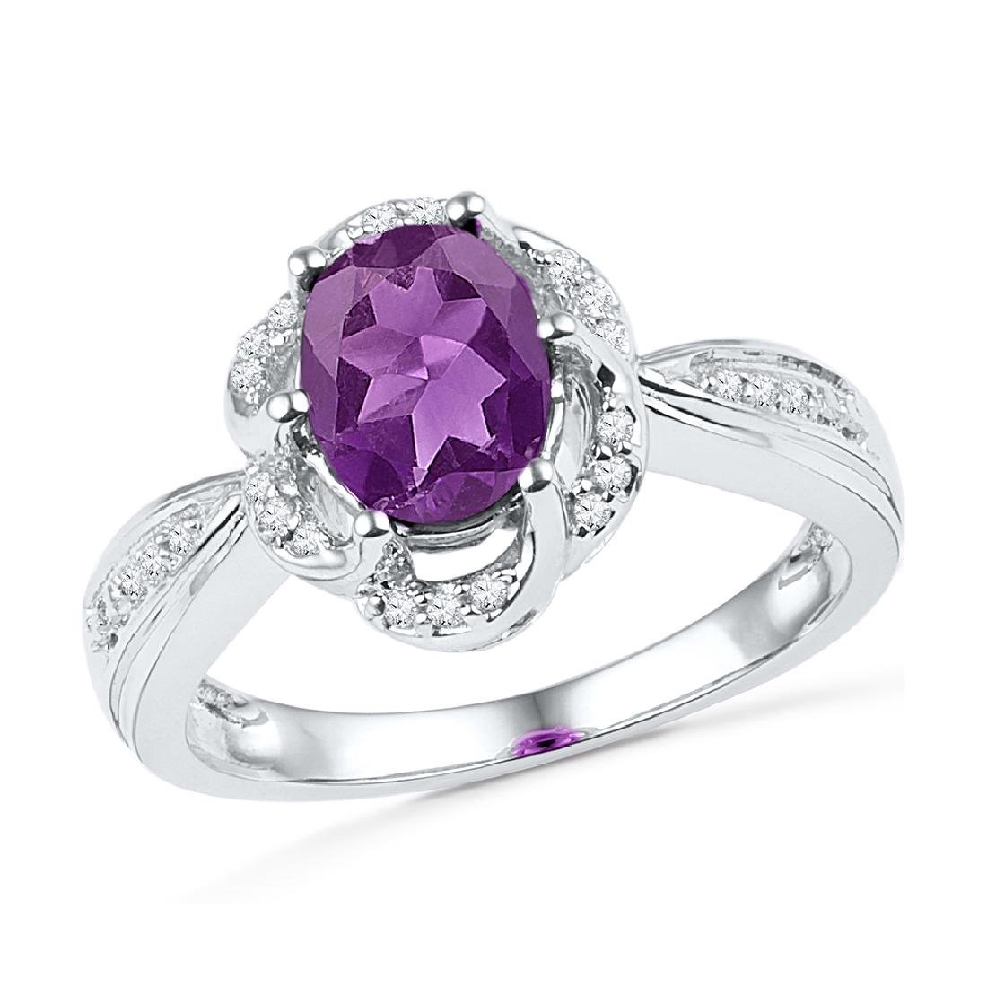 1.73 CTW Oval Lab-Created Amethyst Solitaire Ring 10K