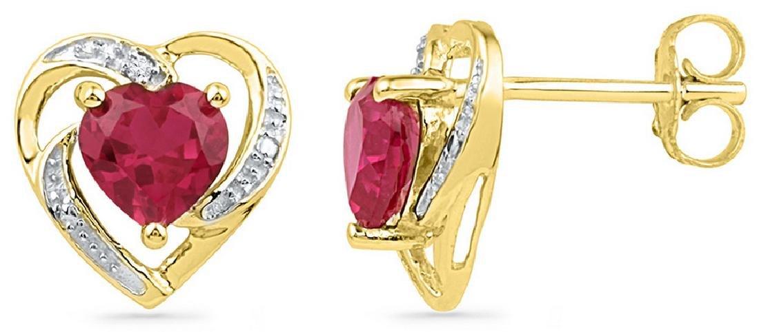 0.41 CTW Lab-Created Ruby Heart Love Earrings 10K