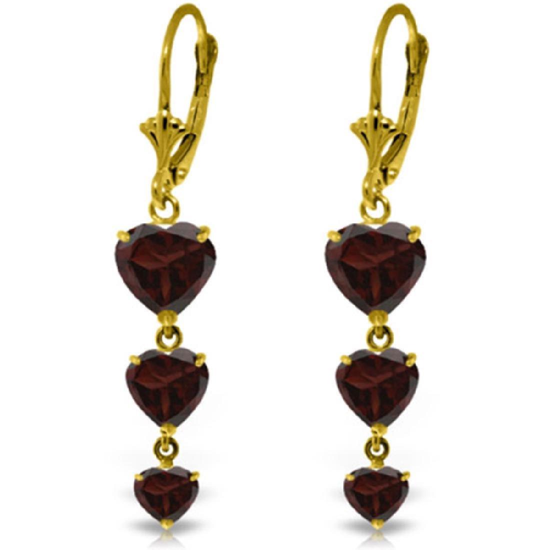 Genuine 6 ctw Garnet Earrings Jewelry 14KT Yellow Gold