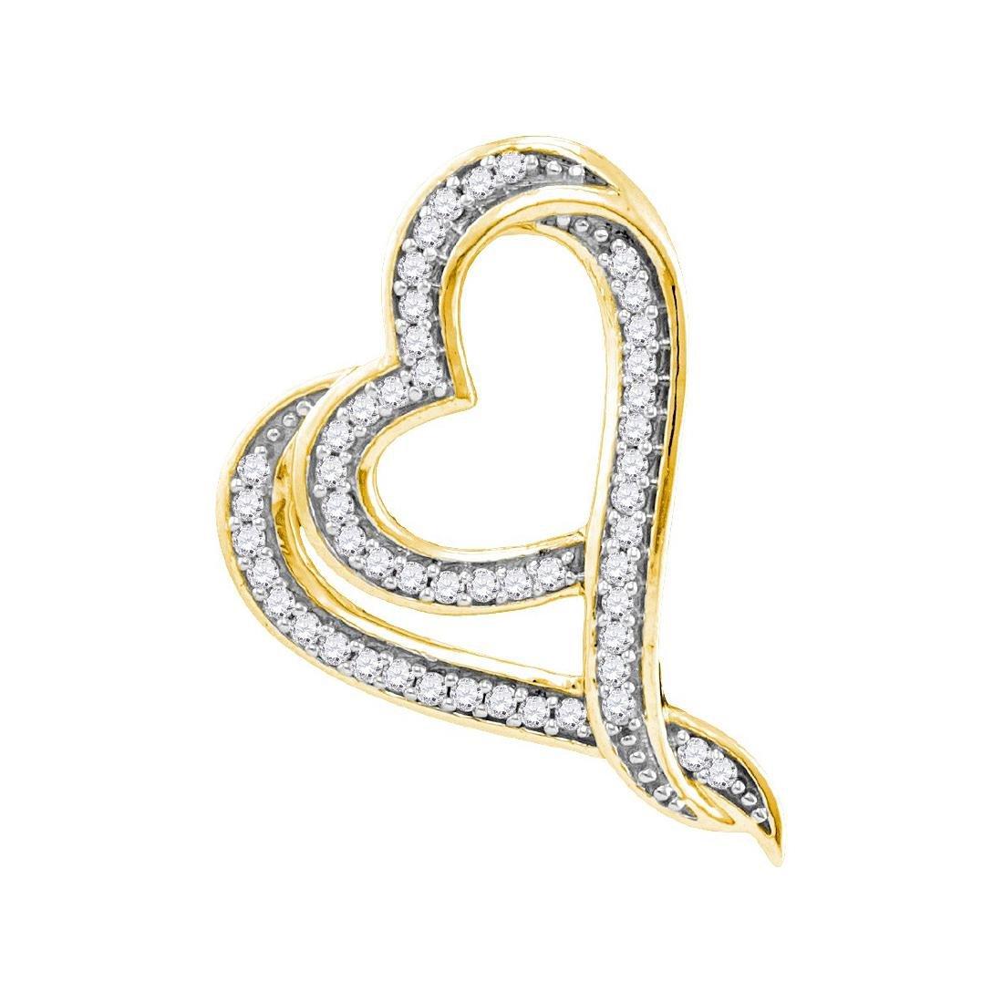 0.12 CTW Natural Diamond Heart Love Pendant 10K Yellow