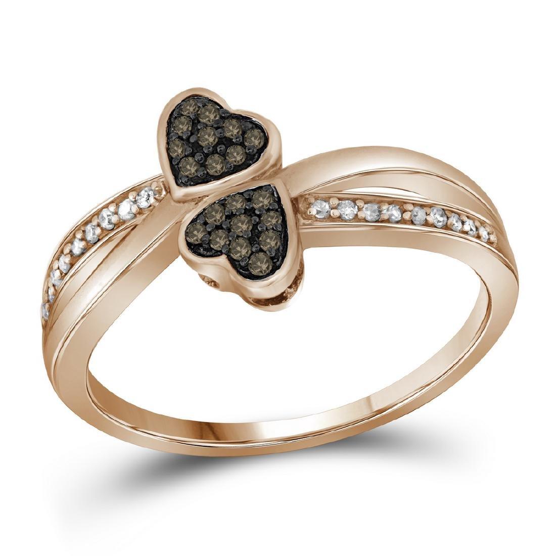 0.1 CTW Cognac-brown Colored Diamond Heart Love Ring