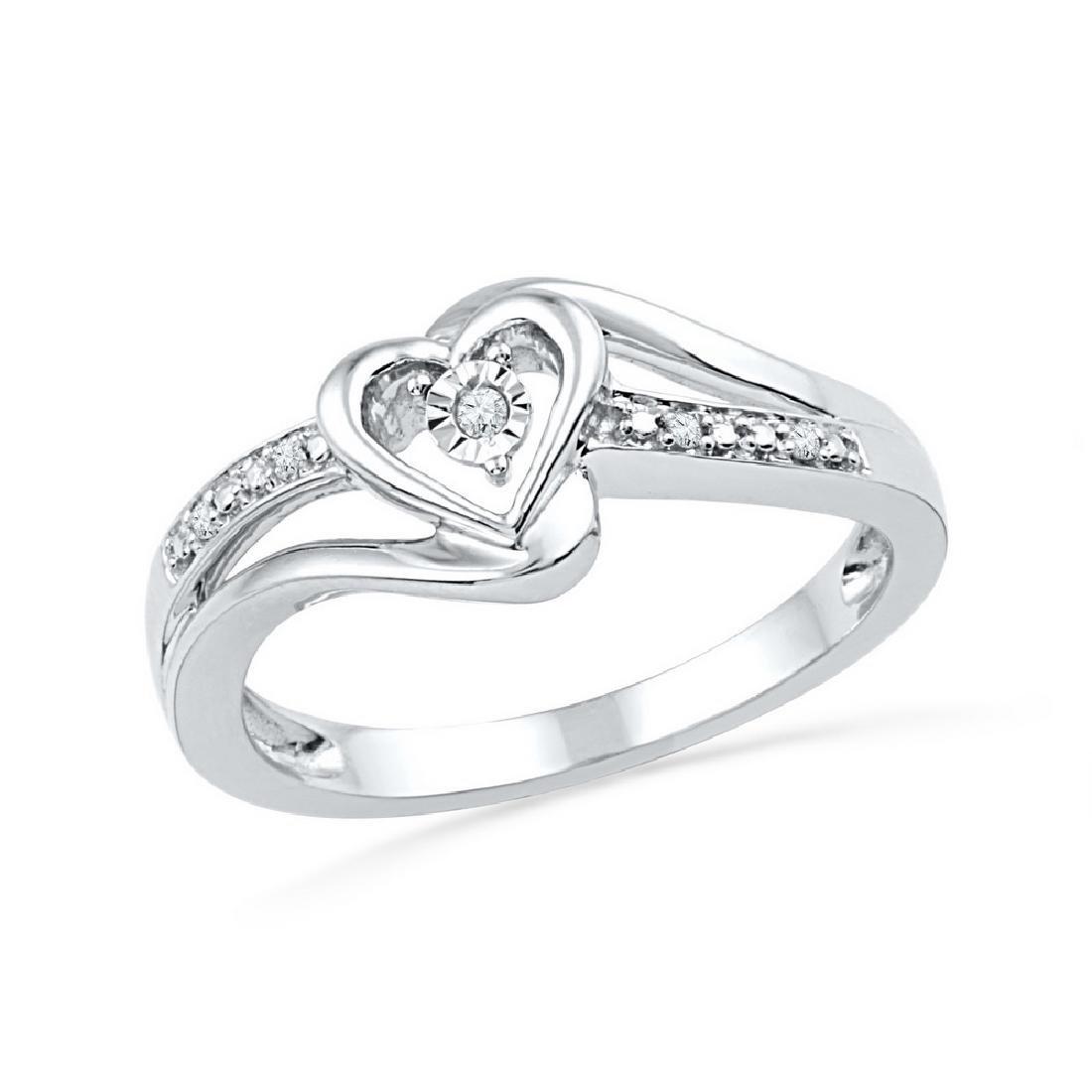 0.03 CTW Natural Diamond Heart Love Promise Bridal Ring