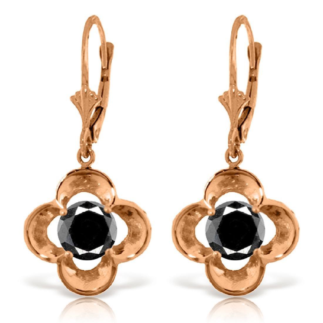Genuine 1.0 ctw Black Diamond Earrings Jewelry 14KT