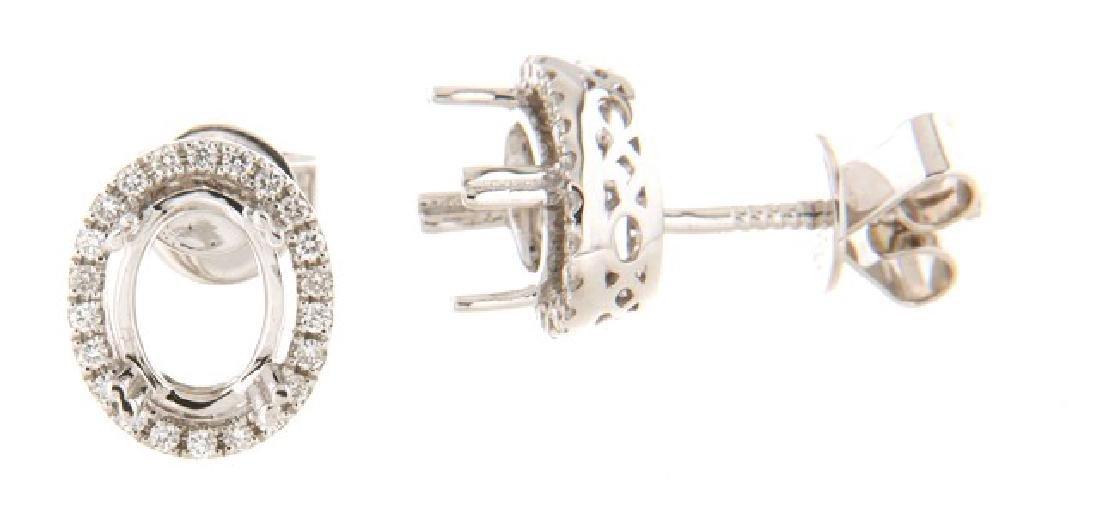 0.29 CTW Diamond Semi Mount  Earring in 14K White Gold