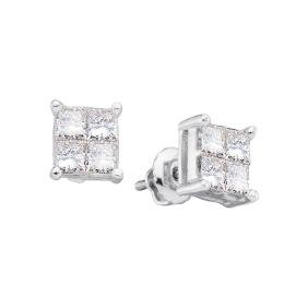 0.33 CTW Princess Natural Diamond Screwback Stud