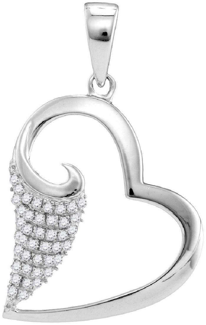 0.2 CTW Natural Diamond Scroll Heart Love Pendant 10K