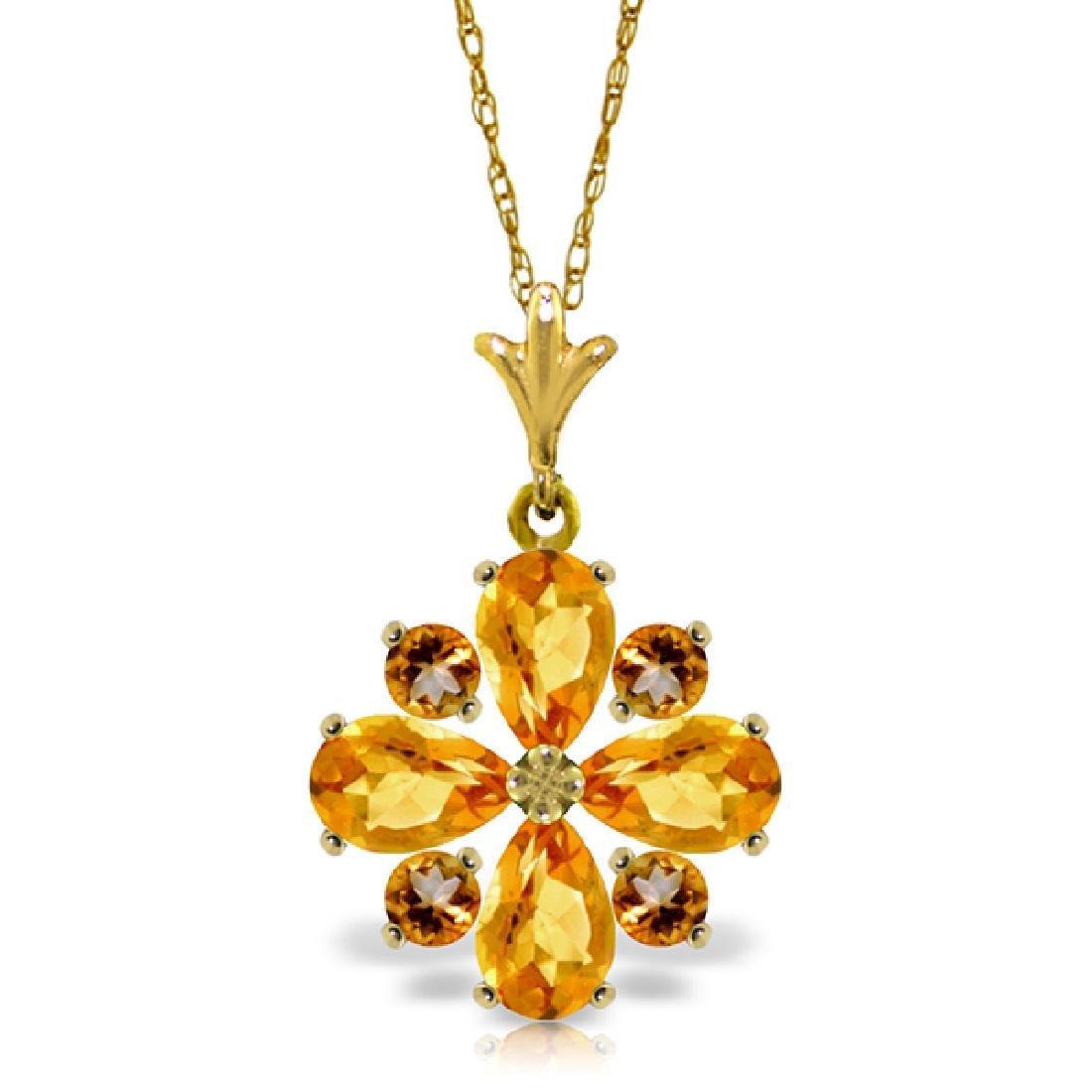Genuine 2.43 ctw Citrine Necklace Jewelry 14KT Yellow