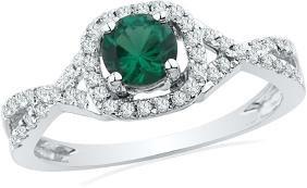 0.7 CTW Lab-Created Emerald Solitaire Diamond Ring 10K