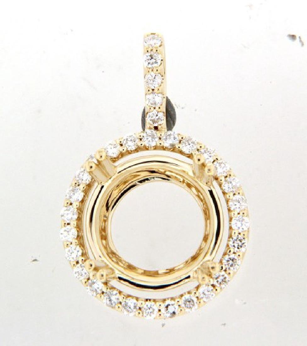0.56 CTW Diamond Semi Mount  Necklace in 14K Yellow
