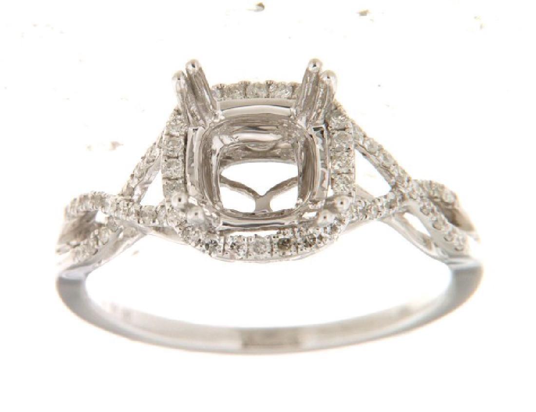 0.29 CTW Diamond Semi Mount  Ring in 14K White Gold