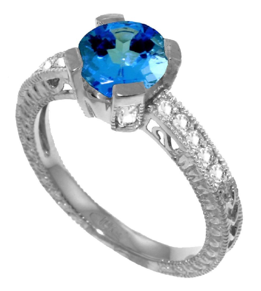 Genuine 1.80 ctw Blue Topaz & Diamond Ring Jewelry 14KT