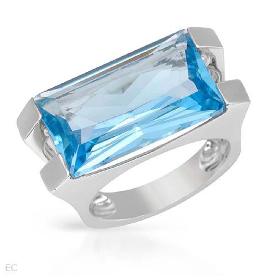 14.33 CTW Topaz Fashion  Ring in 14K White Gold