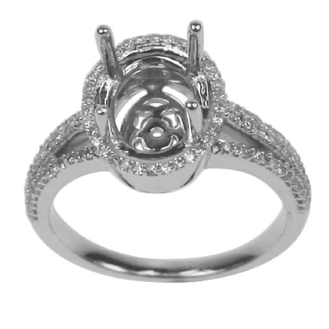 0.37 CTW Diamond Semi Mount  Ring in 14K White Gold