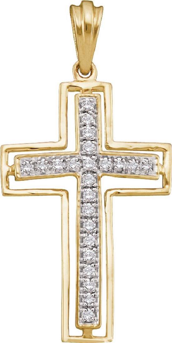 0.26 CTW Natural Diamond Cross Pendant 10K Yellow Gold