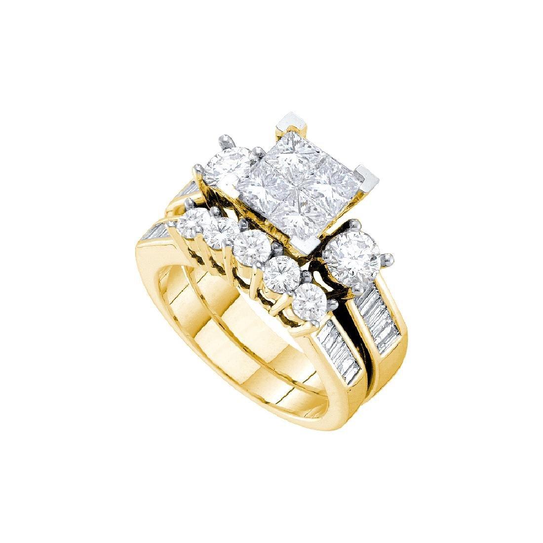 3 CTW Natural Princess Invisible-set Diamond Bridal