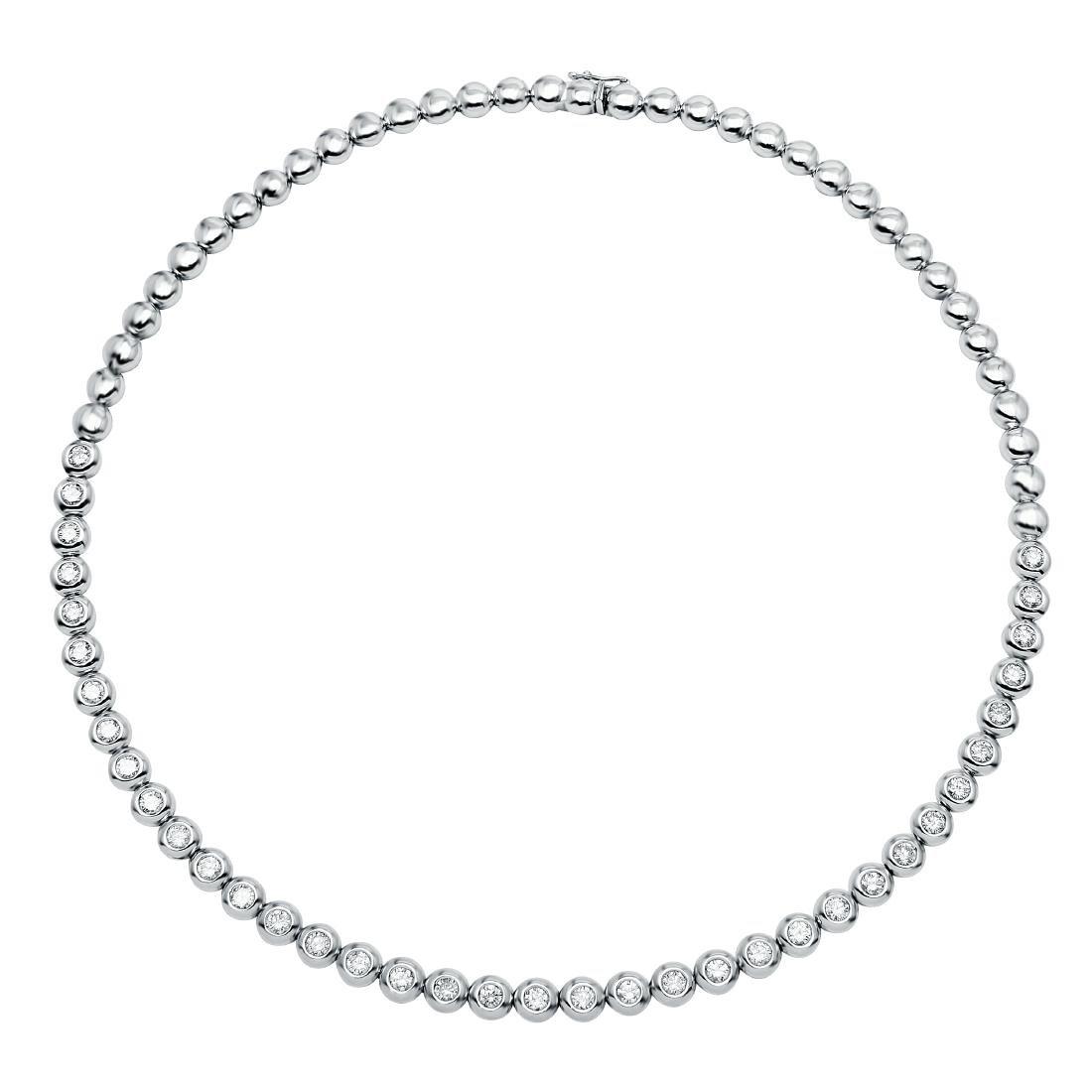 4.86 CTW Diamond Tennis  Necklace in 14K White Gold