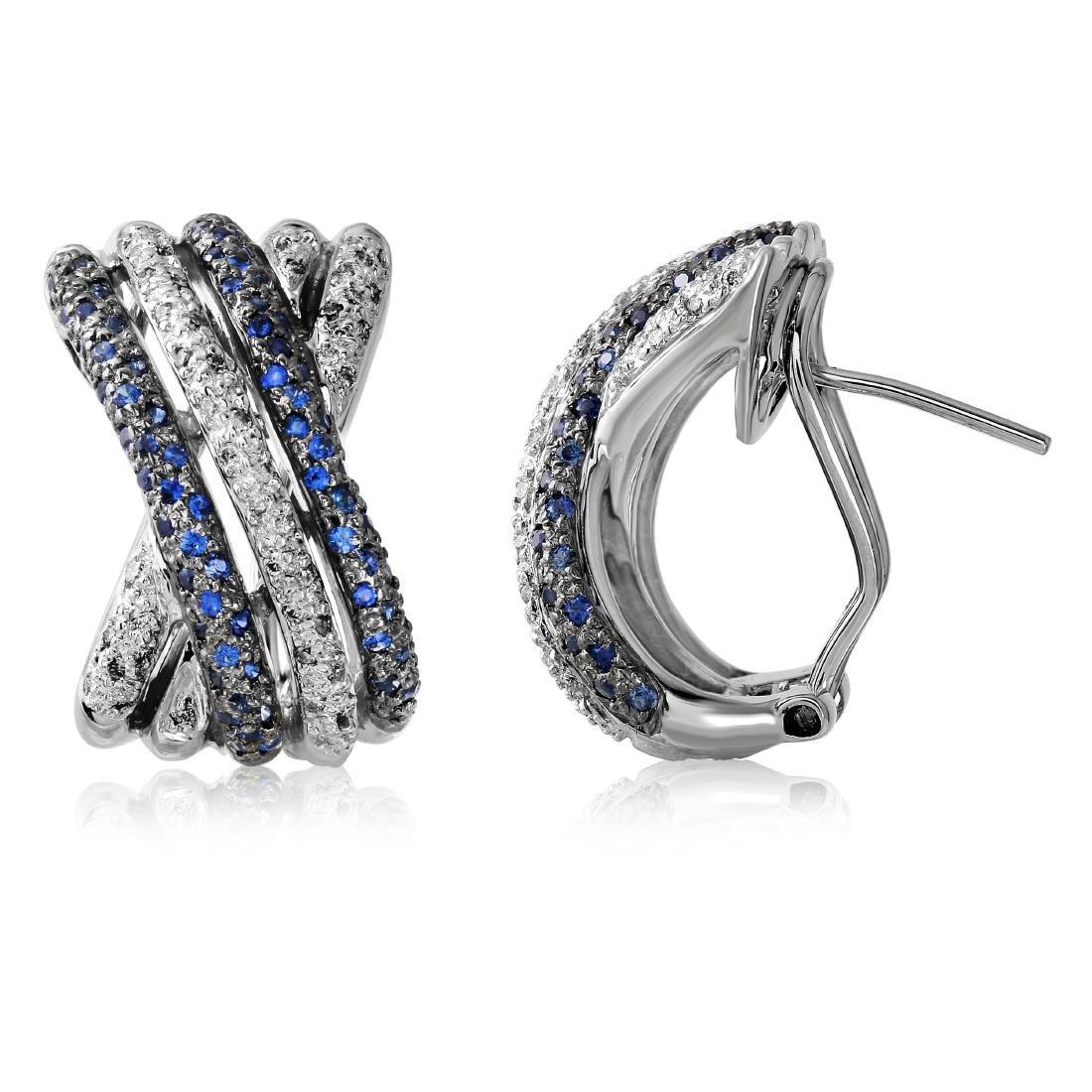 1.04 CTW Sapphire Huggy  Earring in 14K White Gold