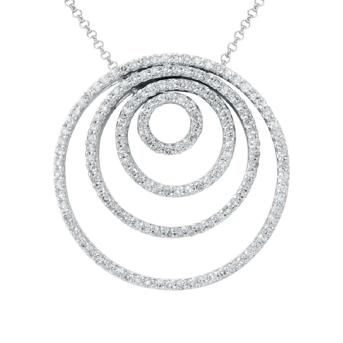 2.08 CTW Diamond Slider Necklace in 14K White Gold