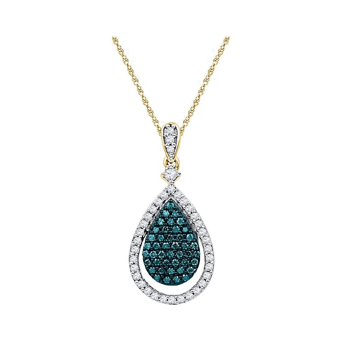 0.6 CTW Blue Colored Diamond Teardrop Pendant 10K Rose