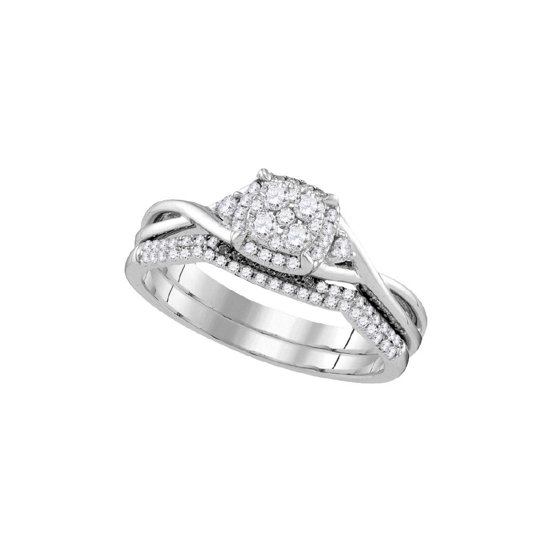 0.38 CTW Natural Diamond Cluster Bridal Engagement Ring