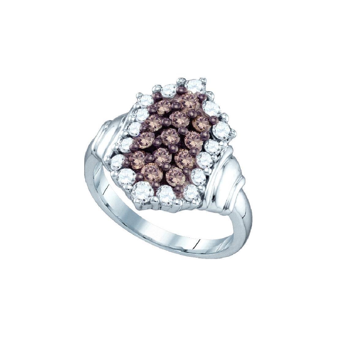 1.25 CTW Cognac-brown Colored Diamond Cluster Ring 10K