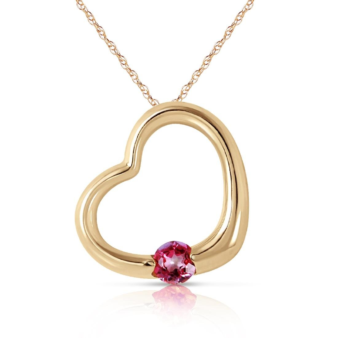Genuine 0.25 ctw Pink Topaz Necklace Jewelry 14KT