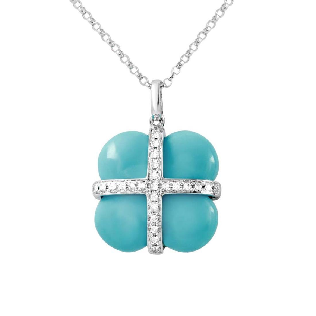 8.96 CTW Turquoise Slider Necklace in 14K White Gold