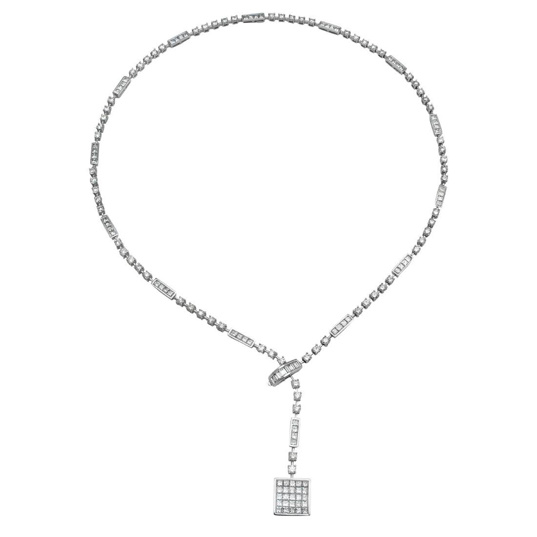 9.69 CTW Diamond  Necklace in 14K White Gold