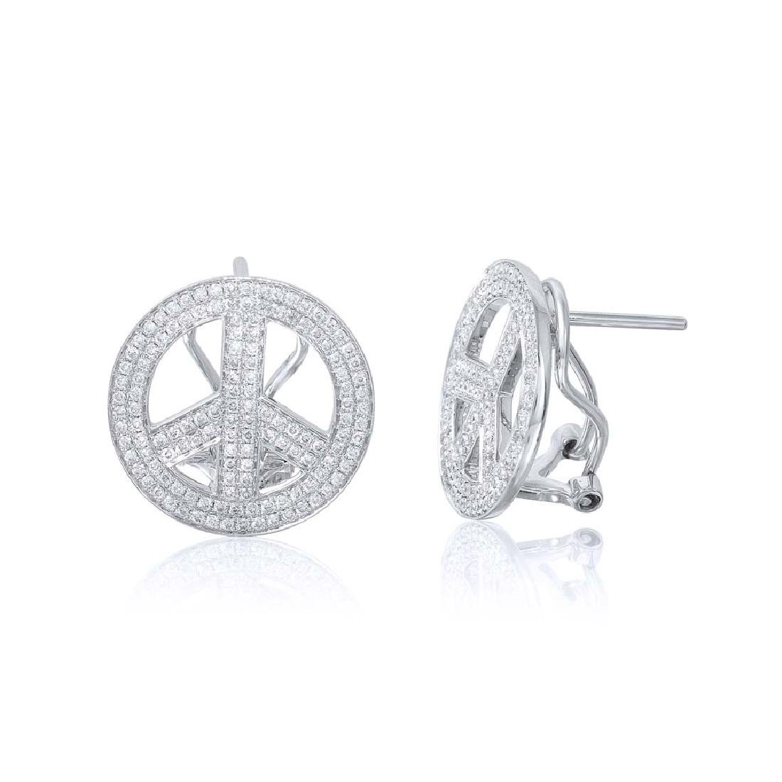 0.84 CTW Diamond Button  Earring in 14K White Gold