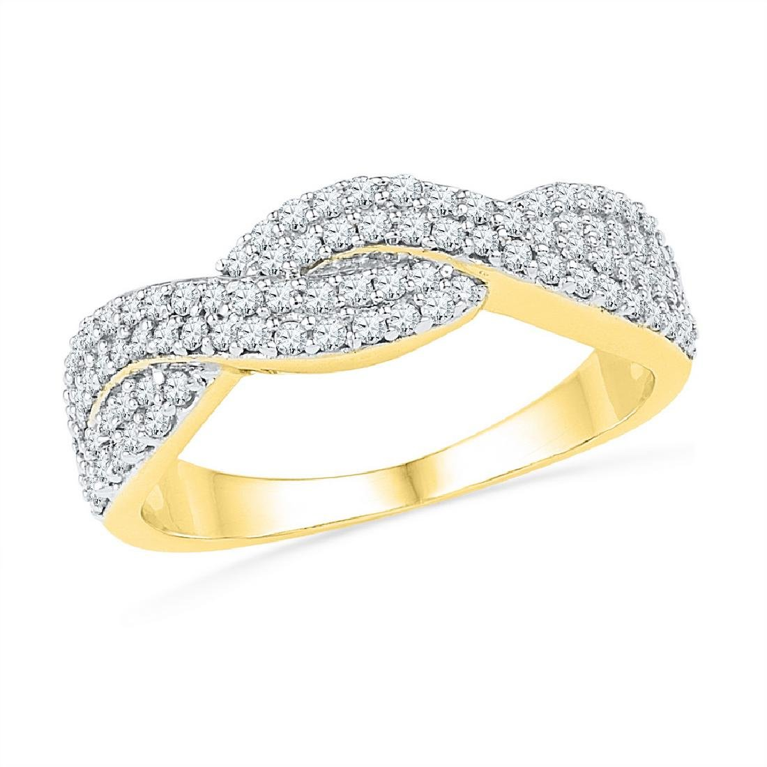 0.5 CTW Natural Diamond Crossover Band 10K Yellow Gold