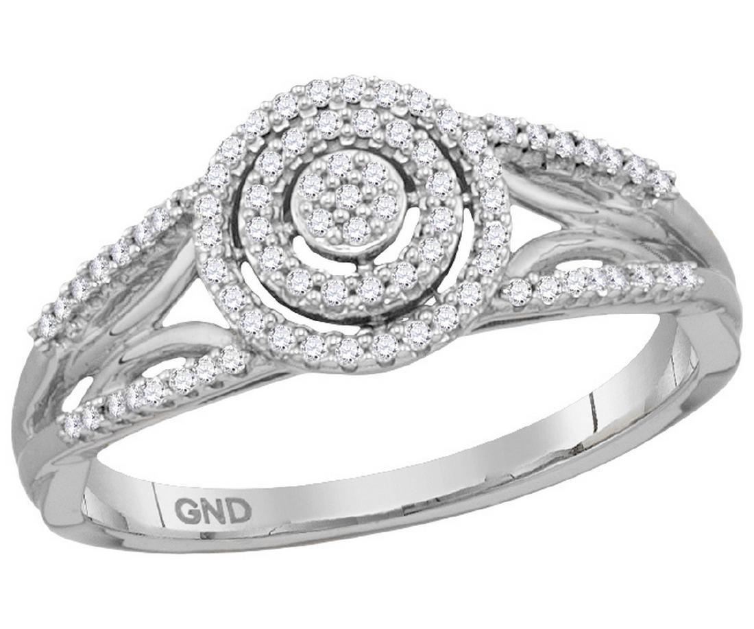 0.2 CTW Natural Diamond Cluster Bridal Engagement Ring