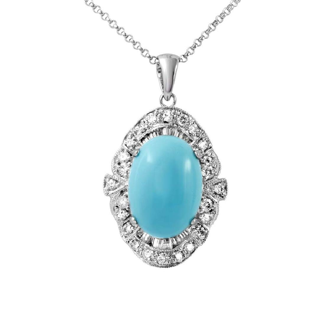 5.67 CTW Turquoise Slider Necklace in 14K White Gold